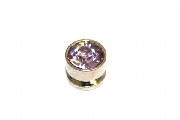 10pcs x 7mm*6mm Round metal bead with lilac rhinestone -- 1 hole -- S.A -- WC214 -- 5000004